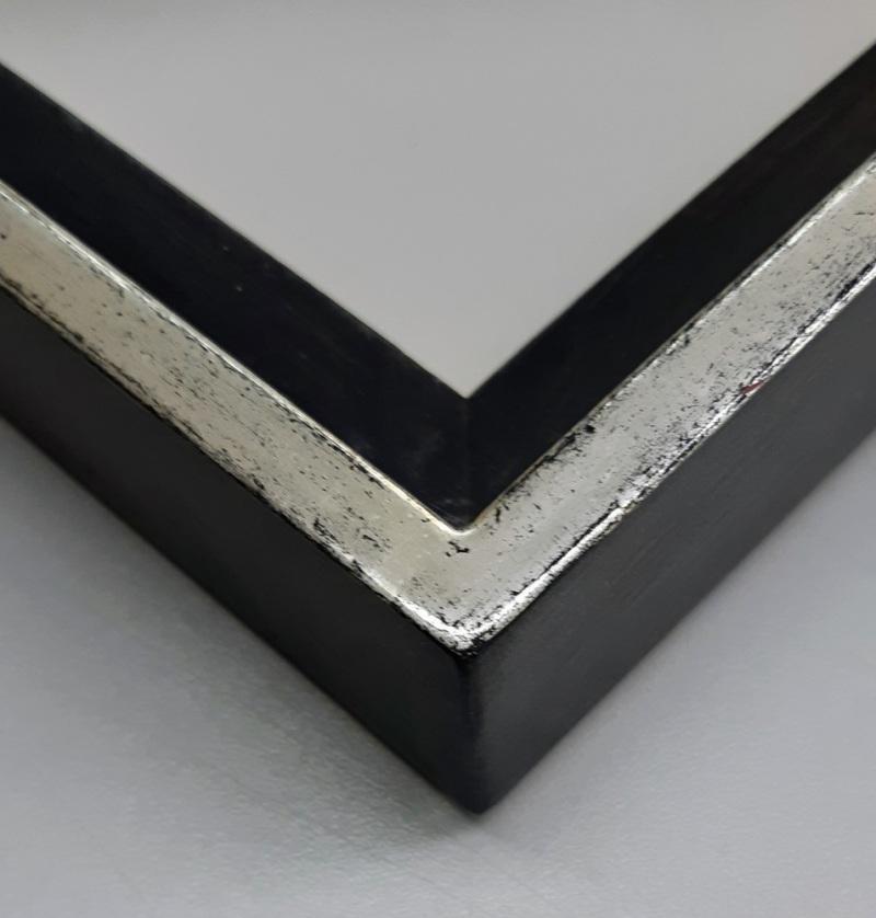 Schattenfugenrahmen exklusiv Silber, Schwarz